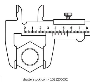Illustration of the sliding calliper and screw nut