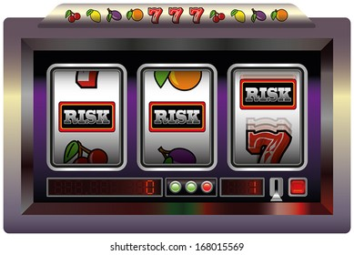 Illustration of a slot machine with three reels, slot machine symbols and the lettering RISK. Isolated vector on white background.