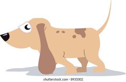 Illustration of a small dog is walking  Playful