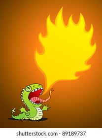 Illustration of a small dragon spewing flames
