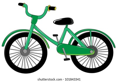 Illustration of small green bike on white