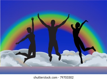 illustration with small people group jumping above clouds