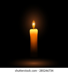 illustration of small single candle in the darkness with flame