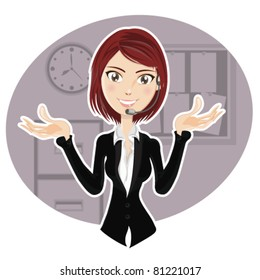 An illustration of smart, confident woman with occupation as a salesman, customer service, call center, and IT Support, explaining procedure, giving solution, and communicate to help customer.