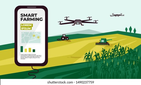 Illustration of  smart farm with drone control. Innovation technology for agricultural company. Automation farming with remote controllable tractor, combine harvester. Template for web, print, report.