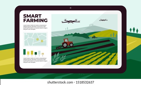 Illustration of  smart farm with drone control by tablet. Innovation technology for agricultural company. Automation farming with remote controllable tractors. Template for web, print, flyer, report.