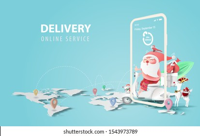 illustration of smartphone with Online delivery service application concept.Summer Christmas season.Paper cut and craft on blue background.Graphic Santa Claus riding a motorcycle transport gift Vector