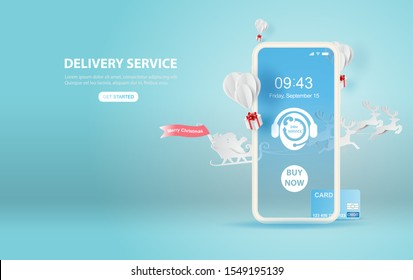 illustration of smartphone Online delivery service application concept.Merry Christmas season.Paper cut and craft style.Santa Claus riding with reindeer transport gift balloon fly air Vector EPS10