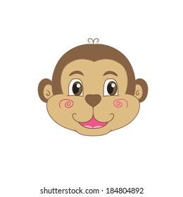 Illustration of smile monkey face on white background