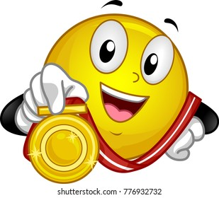 Illustration of a Smiley Mascot Showing Its Gold Medal