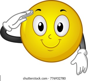 Illustration of a Smiley Mascot Smiling and Saluting with Right Hand