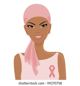 Illustration of a smiling African-American woman wearing headscarf and a pink ribbon. Breast cancer awareness concept.