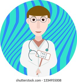"""illustration of a smiling doctor in a white coat that holds a sign """"TAKE CARE"""""""