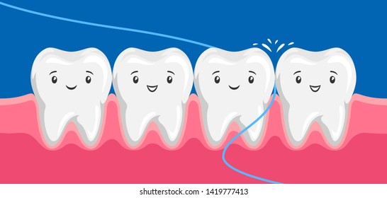 Illustration of smiling are flossing in oral cavity. Children dentistry happy characters. Kawaii facial expressions.