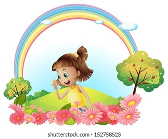 Illustration of a smiling girl at the garden with pink blooming flowers on a white background