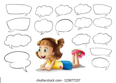 Illustration of a smiling girl and speech bubbles on a white background