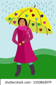 Illustration of smiling girl and umbrela in rainy day