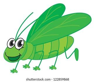 Illustration of a smiling grasshopper on a white background