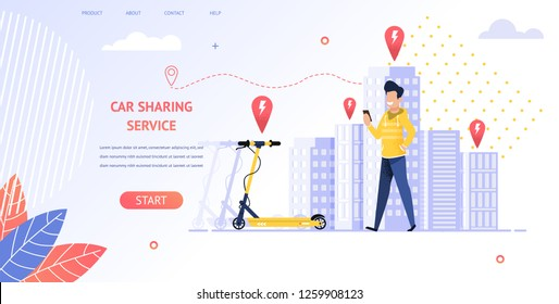Illustration Smiling Guy Renting Electric Scooter. Banner Vector Man Coming Location Parking Vehicles. Uses Car Sharing Service Mobile App. no Trouble Getting to Your Destination. Ecological Transport