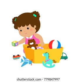 Illustration of smiling kid girl storing his toys in the box.