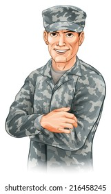 An illustration of a smiling soldier wearing camouflage combat uniform with his arms folded