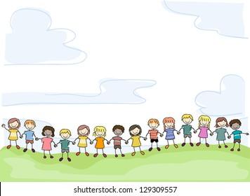 Illustration of Smiling Stick Kids Holding Hands in Unity