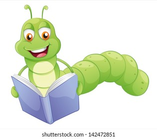 Illustration of a smiling worm reading on a white background