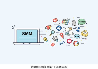 Illustration of SMM. Perfect for banner, online advertising, poster, website, courses, school, blog. Made in vector.