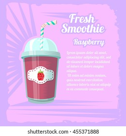 Illustration of smoothie cup with raspberry on a pink background.