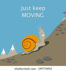 Illustration of snail climbs a mountain