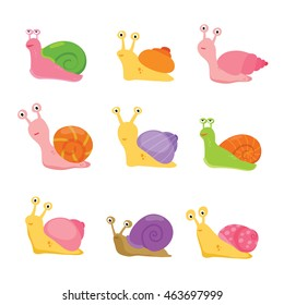 Illustration of the snails with different shells on a white background