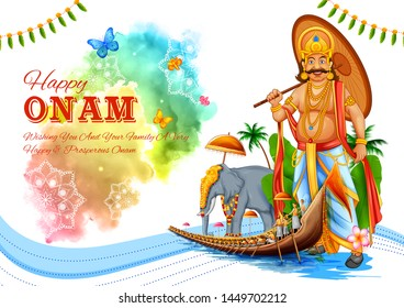 illustration of snakeboat race in Onam celebration background for Happy Onam festival of South India Kerala