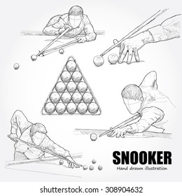 illustration of Snooker. drawing vector
