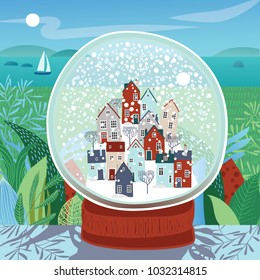 Illustration of a snow ball with a small town inside against the background of the summer landscape