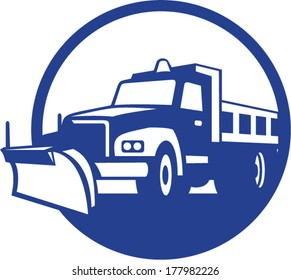 Illustration of a snow plow truck set inside circle on isolated background done in retro style.