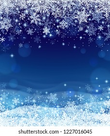 Illustration of snowfall, background for christmas and new year greeting cards, and invitations, and winter holiday season. EPS 10 contains transparency.