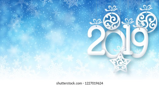 Illustration of snowfall, background for new year greeting cards, and invitations, and winter holiday season. EPS 10 contains transparency.