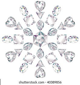 Illustration of snowflake made from different cut diamonds isolated on white