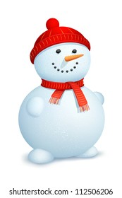 illustration of snowman wearing scarf and cap for Christmas