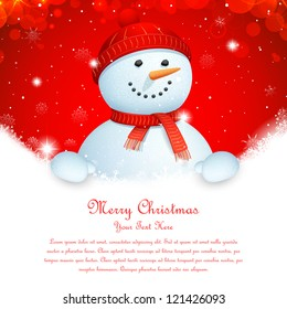 illustration of snowman wearing scarf in Christmas banner