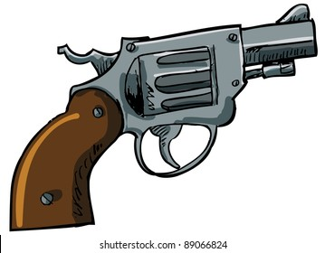 Illustration of a snub nose revolver. Isolated on white