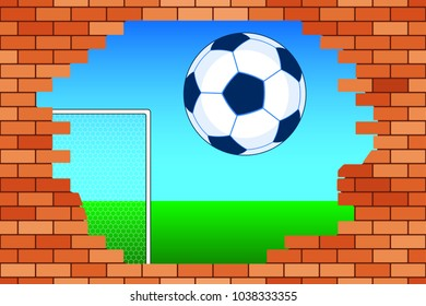 Illustration of the soccer ball and broken brick wall
