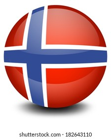 Illustration of a soccer ball with the flag of Norway on a white background