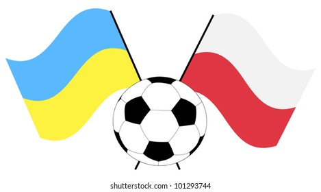 illustration with soccer ball and flags
