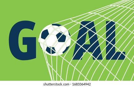 Illustration of soccer ball in goal.