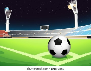 Illustration of a soccer ball in stadium