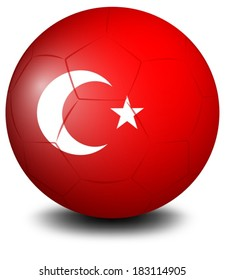 Illustration of a soccer ball from Turkey on a white background