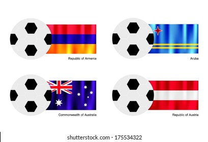 An Illustration of Soccer Balls or Footballs with Flag of Armenia, Aruba, Australia and Austria on Isolated on A White Background.