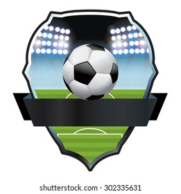 An illustration for a soccer football ball and field emblem badge. Vector EPS 10 available. EPS file contains transparencies and gradient mesh.