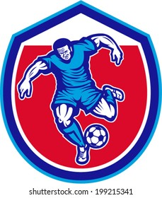 Illustration of a soccer football player running kicking soccer ball set inside shield crest done in retro style.